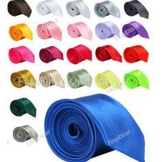 Mens Wedding Party Solid Plain Necktie Multi-Color Tie DTI-289918