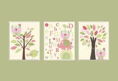 Kids Wall Art Nursery Art Print Baby Girl Nursery by DesignByMaya