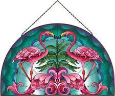 "Flamingo Pink Birds Palm Trees Deco Inspired Art Glass Panel 16"" W Metal Framed"