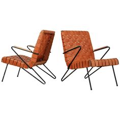 Unique Pair of Hairpin Armchairs with Webbed Brown Leather Seating, USA, 1950s 1
