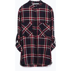 Zara Check Shirt (235 EGP) ❤ liked on Polyvore featuring tops, navy blue, checked shirt, navy checkered shirt, checkered shirt, blue checkered shirt and shirts & tops