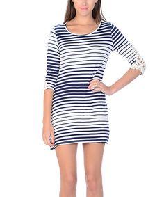 Loving this Navy & White Stripe Lace-Elbow Scoop Neck Dress on #zulily! #zulilyfinds