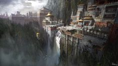 Gompa is concept art for the game Uncharted Among Thieves and has been made by concept artist James Paick. This limited edition print is part of the official Uncharted fine art print collection that cover Uncharted 1 - Fantasy Town, Fantasy World, Landscape Concept, Fantasy Landscape, Environment Concept Art, Environment Design, Illustrations, Illustration Art, Landscape Arquitecture