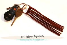 tutorial on how to make a leather fringe key chain