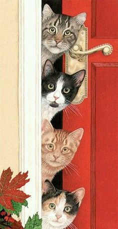 four cats Avril Haynes Christmas Animals, Christmas Cats, Merry Christmas, Christmas Holidays, Image Chat, Gatos Cats, Photo Chat, Cat Cards, Vintage Cat