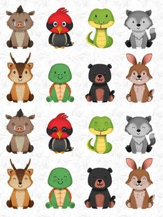 Animals wood Clipart Forest Friends, friends of animals, nursery decor wooden baby animal Woodland Nursery Decor, Woodland Baby, Forest Nursery, Forest Animals, Woodland Animals, Scrapbooking Invitation, Cute Animal Clipart, Decoration Photo, Clip Art