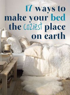This is my ultimate dream - 17 Ways To Make Your Bed The Coziest Place On Earth 12629 2203 6 Jane Doubell Bedroom ideas L^RK Lisa Ruggerole Kasunic Anyone know where to get a king comforter that falls past the mattress?
