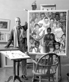 Norman Rockwell in his Stockbridge MA studio