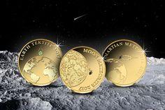 Näihin upeisiin kultarahoihin on istutettu pala aitoa meteoriittia suoraan avaruudesta! Personalized Items