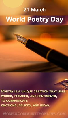 Every year, World Poetry Day or International poetry day befalls on 21 March. It's celebrated, to encourage people to learn, compose, and publish poetry and to acknowledge the aesthetic gift poetry delivers to a nation. #poetryday #poetry #poetrylovers #poetryislove #poetryaddicts #poem #worldpoetryday World Poetry Day, Online Blog, Poems, Encouragement, 21st, March, Community, Learning, People