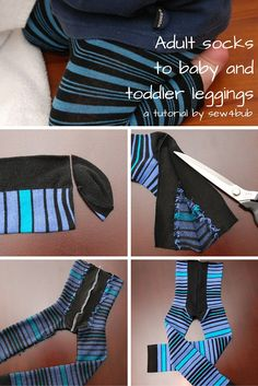 Sewing Clothes For Men The original 5 min baby and toddler leggings made from socks. Cut off toes, cut up foot sides to middle of heel, sew together, elastic waist. Toddler Leggings, Baby Leggings, Baby Pants, Leggings Sale, Printed Leggings, Baby Outfits, Kids Outfits, Toddler Outfits, Legging Outfits
