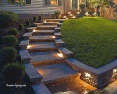 backyard design – Gardening Tips Hillside Garden, Hillside Landscaping, Backyard Garden Design, Front Yard Landscaping, Landscape Stairs, Landscape Design, Solar Powered Outdoor Lights, Backyard Putting Green, Outdoor Patio Designs