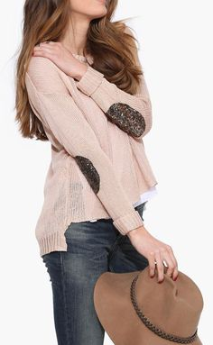 Ellie Patched Knit Sweater in Blush