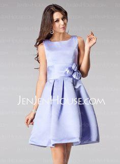 Bridesmaid Dresses - $93.99 - A-Line/Princess Square Neckline Short/Mini Satin Bridesmaid Dress With Flower(s) (007005200) http://jenjenhouse.com/A-Line-Princess-Square-Neckline-Short-Mini-Satin-Bridesmaid-Dress-With-Flower-S-007005200-g5200