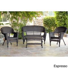 Wicker Patio 4 Piece Conversation Set Espresso Brown Jeco Furniture