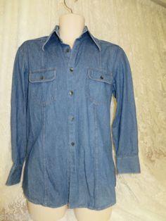 DOLCE & GABBANA ITALY Denim Fitted Shirt 16/41 EUC Western Dress Button Front