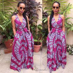Helga in a Demestik by Reuben Reuel wrap maxi dress and sporting Ghana braids / cornrows