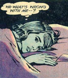 Late Night Anxieties ~ Secret Hearts Art by John Rosenberger. Vintage Pop Art, Vintage Cartoon, Vintage Comics, Retro Art, Cartoon Art, Bd Comics, Comics Girls, Comic Books Art, Comic Art