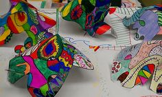 Take a Line for a Walk: Connecting to the Elements of art starting with line, moving into shapes and forms then color, texture and value and ending by creating a 3-D sculpture. This project takes 3-4 50 minute sessions to complete.
