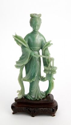century Chinese carved jade figurine with silver inlay on rosewood base. on Jul 2012 Lotus Plant, Jade Jewelry, Green Accents, Classical Art, Rocks And Gems, Vintage Turquoise, Chinese Art, Traditional Art, Carving