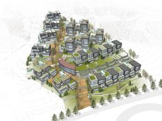 건원건축 판교 운중 307 타운하우스 지명현상 Urban Architecture, Space Architecture, Cluster House, Plan Maestro, Hotel Floor Plan, Urban Ideas, Floating Garden, Community Housing, Residential Complex