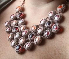 Crocheted glass necklace