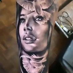 Black & Grey Realism Arm Tattoo dragon tattoo for women Guardian Angel Portrait Tattoo Sleeve, Chicano Tattoos Sleeve, Tribal Forearm Tattoos, Full Sleeve Tattoos, Sleeve Tattoos For Women, Body Art Tattoos, Tattoo Arm, Girl Face Tattoo, Tattoo Girls