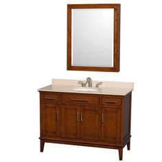 "Wyndham Collection Hatton 48"" Single Light Chestnut Bathroom Vanity Set with Mirror Top Finish:"