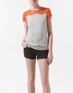 T-SHIRT WITH LACE YOKE - T-shirts - Woman - ZARA United States