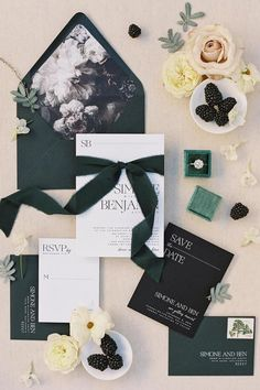 Who loves green as much as we do?! 🙋♀️ It's no surprise we're consistently seeing this moody hue find itself in wedding color palettes all year round. This stationery flatly from @aerialistpress is as lovely as it gets! 💚 #stylemepretty #greenwedding #weddinginvite #prettypaper #stationery #weddingcard #invitationsuite Photography: @carliestatsky Invitations: @aerialistpress Event Planning: @everyelegantdetail Floral Design: @amyburkedesigns Jewelry: @fourtane Ring Box: @the_mrs_box