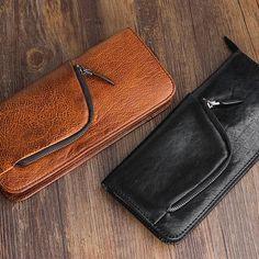 Handmade Top Grain Women Men ClutchBag Zipper Long Wallet Leather Purse Gift QY189