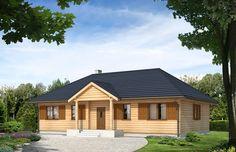 Dom jednorodzinny drewniany, parterowy. Układ funkcjonalny – pokój dzienny, kuchnia połączona z jadalnią, 3 pokoje, łazienka oraz pomieszczenie gospodarcze.