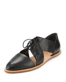 Loeffler Randall Willa Cutout Leather Oxford, Black