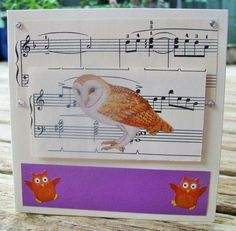 any occasion FWB by RogueKissedCraft Owl Card, Vintage Sheet Music, Recycled Materials, Owls, Etsy Store, Birthday Cards, Recycling, Orange, Awesome