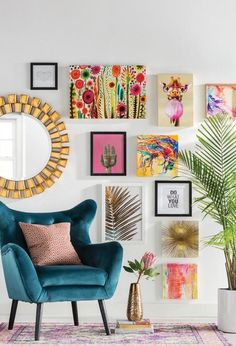 Get inspired by Eclectic Living Room Design photo by Wayfair Catalog. Wayfair lets you find the designer products in the photo and get ideas from thousands of other Eclectic Living Room Design photos. Transitional Office Paint Colors transitional home off Colourful Living Room, Eclectic Living Room, Boho Living Room, Eclectic Decor, Living Room Designs, Bohemian Living, Bright Living Room Decor, Colorful Rooms, Eclectic Design