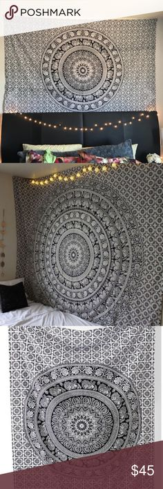 New Black & White Elephant Mandala Tapestry New! Large, twin bed sized (6 feet and 10 inches by 4 feet 7 inches). Not from urban outfitters, just a very similar style to their home wares so I marked as such for exposure 😊 ⚜️I love receiving offers through the offer button!⚜️ Brand new! (the one you'd get is brand new, the pictures are of mine which has little holes through it now from being hung up lol, the one I send out will be new and unused!) Urban Outfitters Accessories