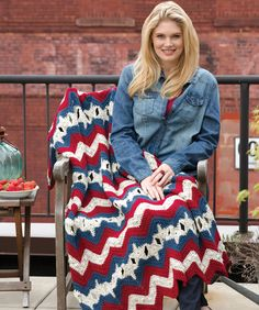 Here's a beauty in our favorite patriotic colors! This wonderful throw features cleverly crocheted stars amid a sea of rippling stripes. Make it to celebrate our country and enjoy it with pride!