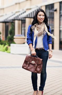 cute & little blog | cobalt blazer, leopard scarf, red heels, outfit #ootd, petite fashion by kileencheng, via Flickr