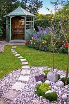 44 Magical Front Yard And Backyard Gravel Garden Design Ideas - Diy Garden Decor İdeas Small Backyard Gardens, Small Backyard Landscaping, Landscaping With Rocks, Landscaping Tips, Small Gardens, Backyard Ideas, Walkway Ideas, Modern Backyard, Landscaping Software