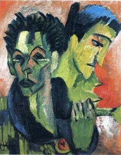 """Double Self-Portrait, by Ernst Ludwig Kirchner (6 May 1880 – 15 June 1938) was a German expressionist painter and printmaker and one of the founders of the artists group Die Brücke or """"The Bridge"""", a key group leading to the foundation of Expressionism in 20th-century art. He volunteered for army service in the First World War, but soon suffered a breakdown and was discharged. In '33, his work was branded as """"degenerate"""" by the Nazis, in '37 > 600 of his works were destroyed. Committed…"""