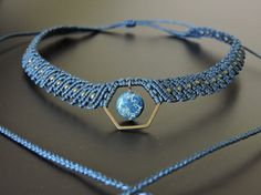 Micro macrame necklace with fil de Jade. Ready to ship. Unique model, handmade in France. This necklace is adjustable, strong and resistant. Blue sediment jasper bead. Shipping with a tracking number, in 1-2 days. Please note that the colors you see on your monitor may differ slightly from the reality due to variations in monitor settings. If you want a gift pocket, just let me know. And if you have any question or if you want a custom made necklace, do not hesitate to contact me. Than...