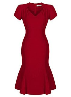 Huada Womens Flared Rockabilly Vintage Prom Bridesmaids Skater Dress XXL Red ** You can get more details by clicking on the image. (This is an affiliate link) Casual Dresses, Dresses For Work, Tea Dresses, Skater Dresses, Fishtail Midi Dress, Chic Outfits, Fashion Outfits, 1950s Fashion Dresses, Vintage Prom