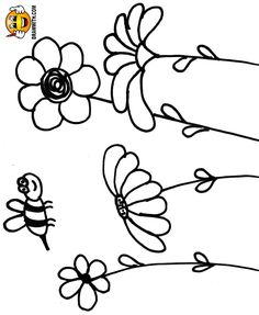 Free Bee And Flowers Coloring Pages For Kids Which Includes A Color Along Video Tutorial