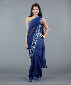This ombré deep blue chiffon saree makes quite a statement. Rent: $178 #Luxemi