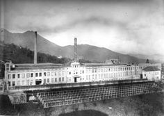 1924: The Lanificio Zegna in Trivero, Italy. Vintage photograph taken of the industrial center of the brand.
