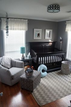 Nursery ideas girl grey, baby room decor for boys, baby boy bedroom ideas, Chevron Nursery Boy, Black Crib Nursery, Nursery Room, Chic Nursery, Aqua Nursery, Baby Chevron, Girl Nursery, Nursery Neutral, Neutral Nurseries
