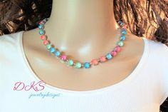 NEW,  Summer Colors, Swarovski Crystal Necklace, multi, 8mm, Choker,  bridal, DKSJewelrydesigns, FREE SHIPPING