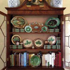 Secretary styled with majolica, books & lusterware - Deborah Feldman