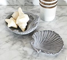 Sea Life Soap Dishes #potterybarn - scallop shell soap dish - seahorse soap dish -