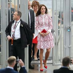 On September 25, 2016, Prince William, Duke of Cambridge and Catherine, Duchess of Cambridge arrived in Vancouver, British Columbia, as they start Day Two of their tour of Canada. Duchess Catherine was wearing a red-and-white patterned dress by the late British designer Alexander McQueen
